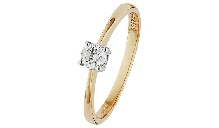 Revere 9ct Gold 0.25ct Diamond Solitaire Ring - R