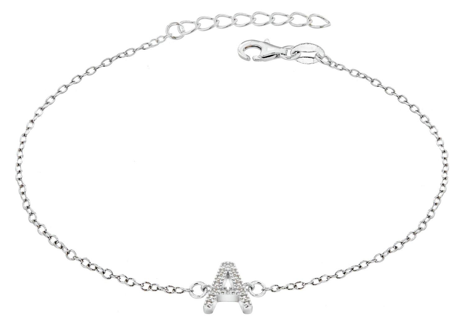Sterling Silver Cubic Zirconia Initial Bracelet - A
