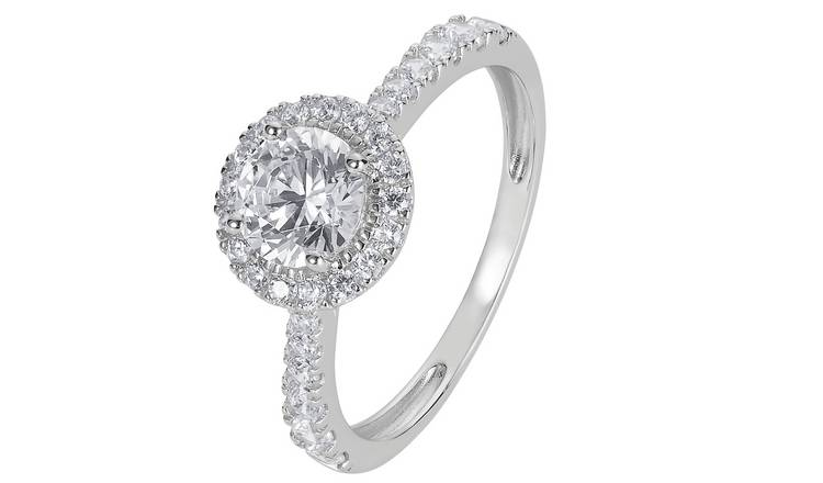 Revere 9ct White Gold Round Cut Cubic Zirconia Halo Ring - J