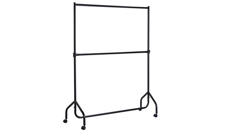 Argos Home Heavy Duty 2 Tier Wheeled Clothes Rail - Black