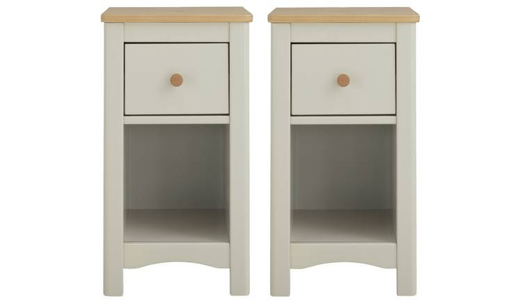 Argos Home Bournemouth 2 Bedside Tables Set - Light Grey
