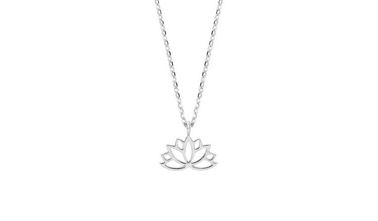 Amelia Grace Silver Plated Lotus Pendant Necklace