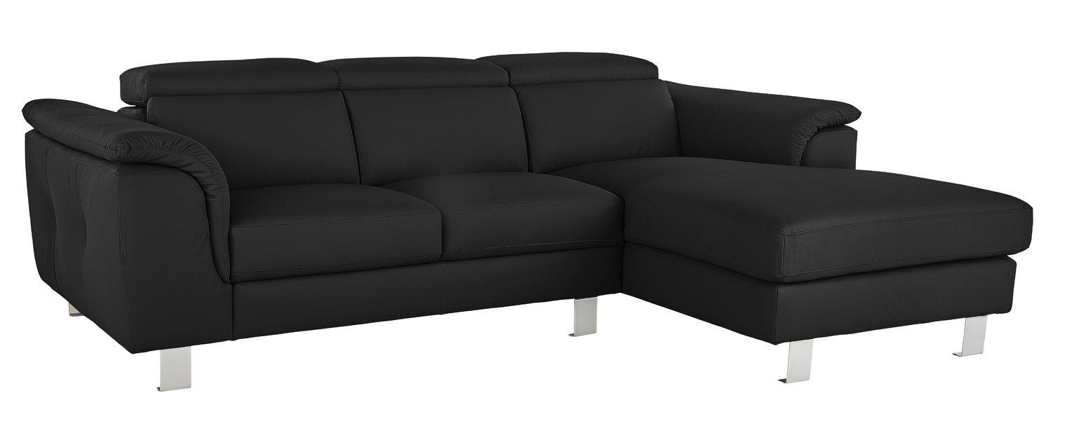 Argos Home Boutique Right Corner Faux Leather Sofa - Black