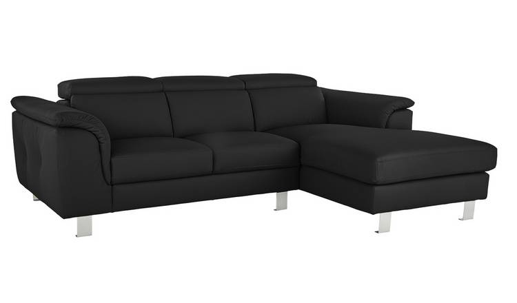 Argos Home Boutique Right Corner Faux Leather Sofa - Black