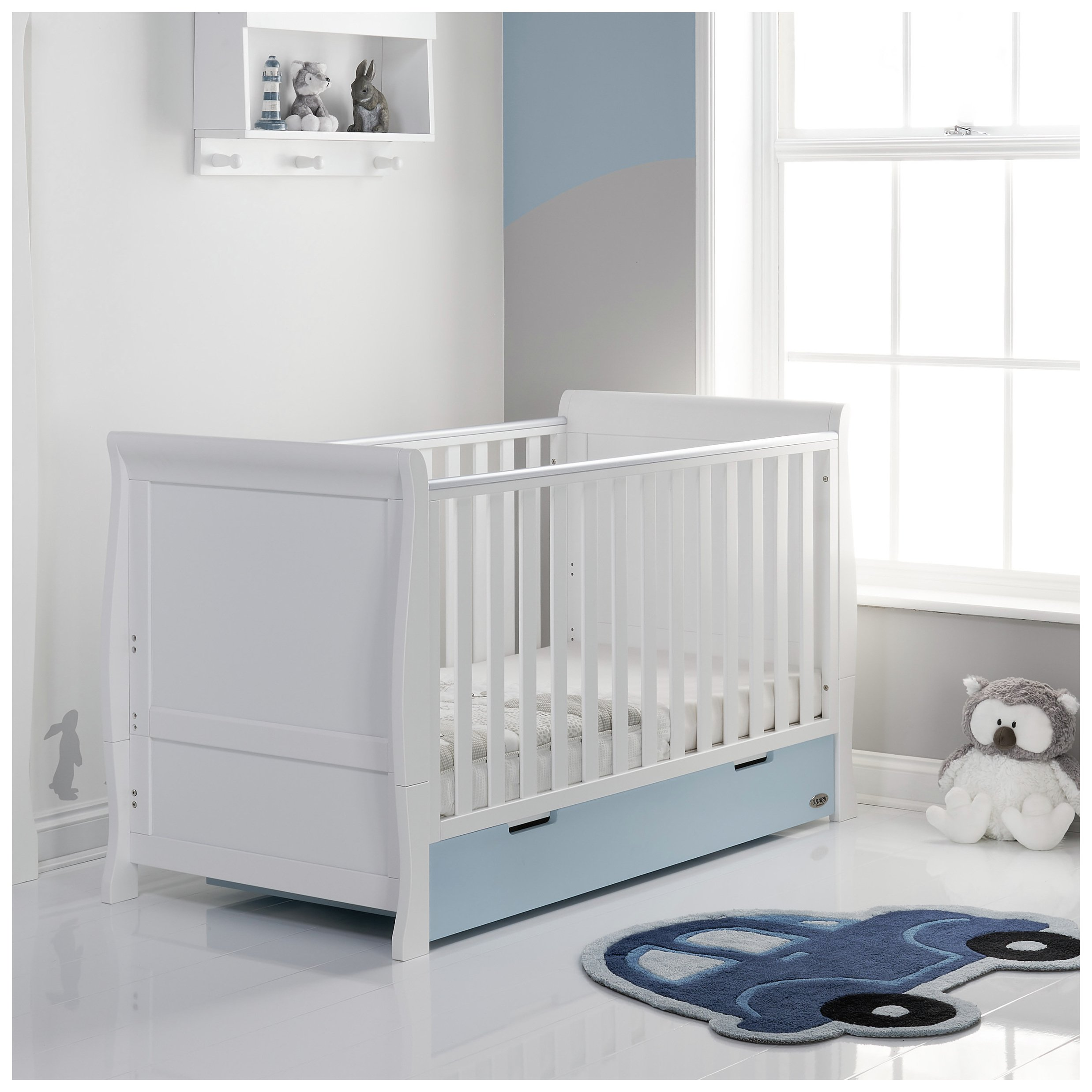 Obaby Stamford Classic Sleigh Cot Bed - White & Bonbon Blue