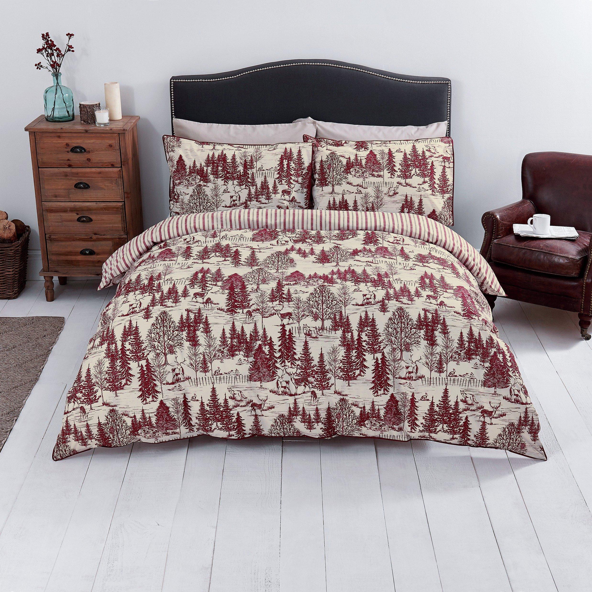 sale on sainsbury 39 s home red toile printed bedding set. Black Bedroom Furniture Sets. Home Design Ideas
