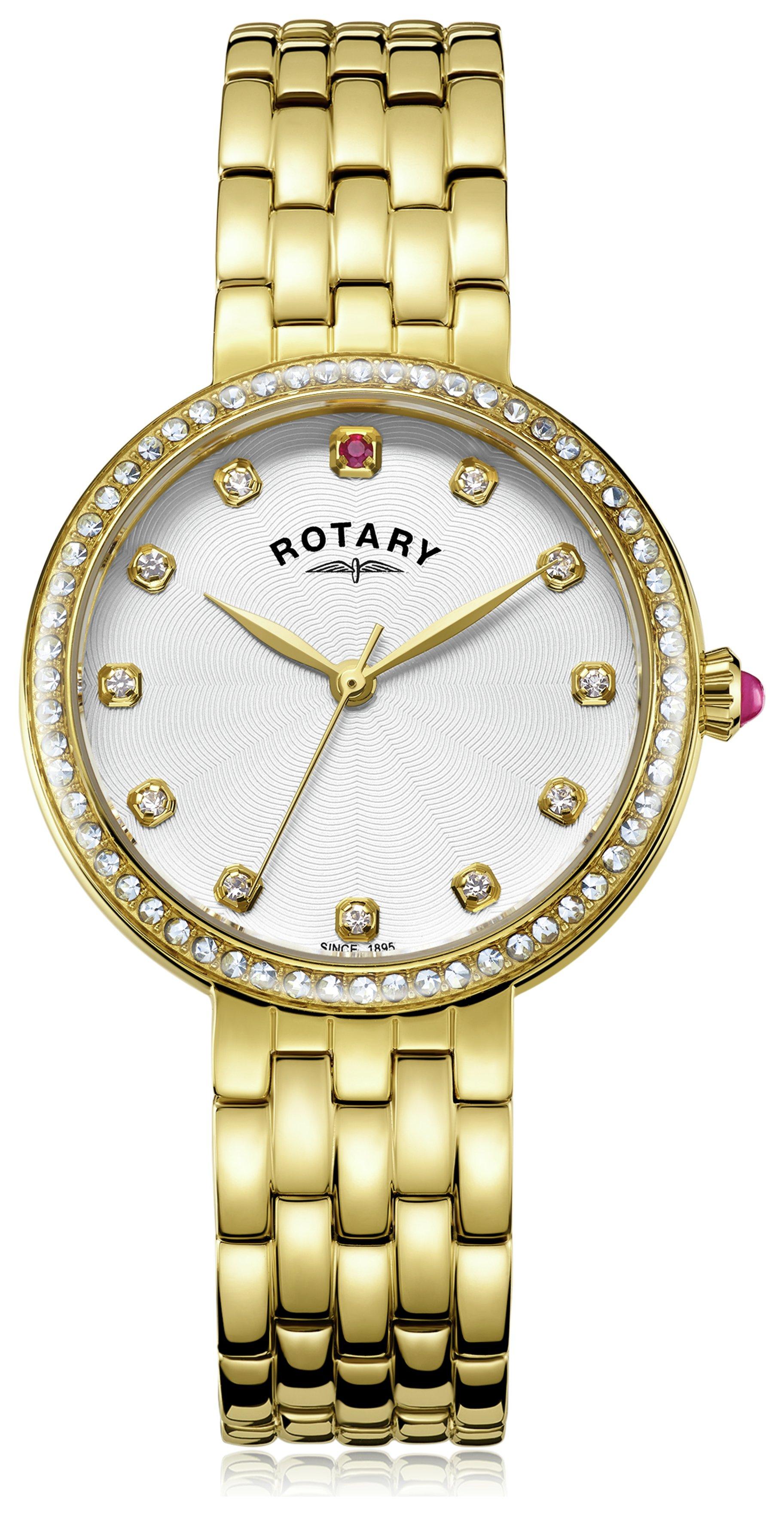 Rotary Ladies' Semi Precious Stone Set Gold Plated Watch