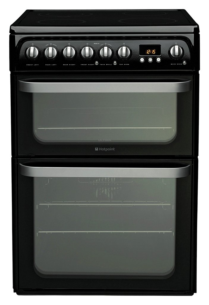 Hotpoint HUE61KS 60cm Double Oven Electric Cooker - Black Best Price, Cheapest Prices
