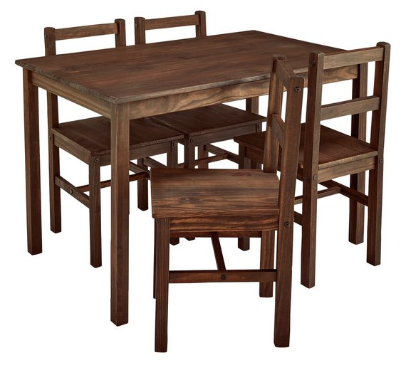 buy argos home raye solid wood table 4 chairs dark pine dining