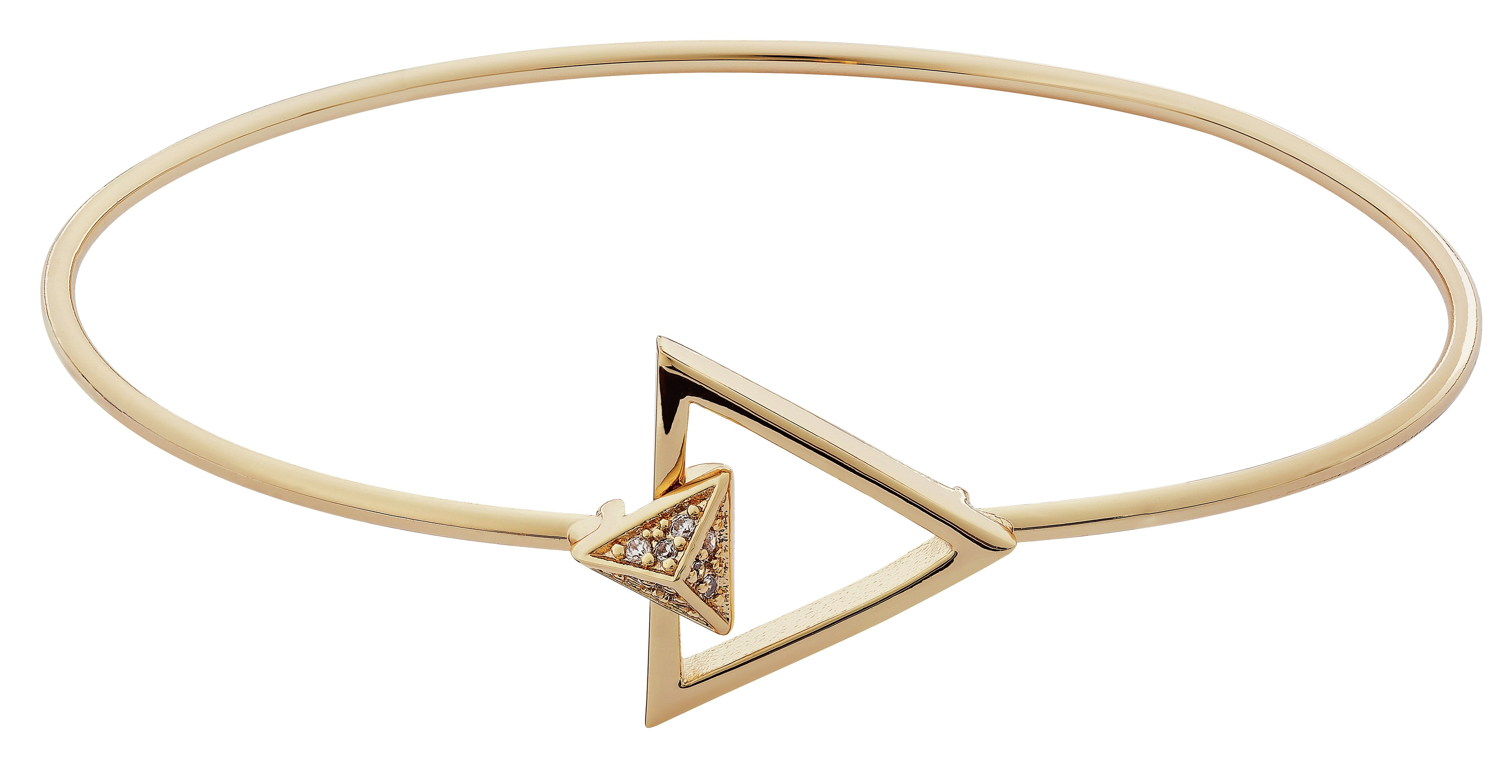 Image of Abbey Clancy Gold Colour Cut Out Triangle CZ Bangle
