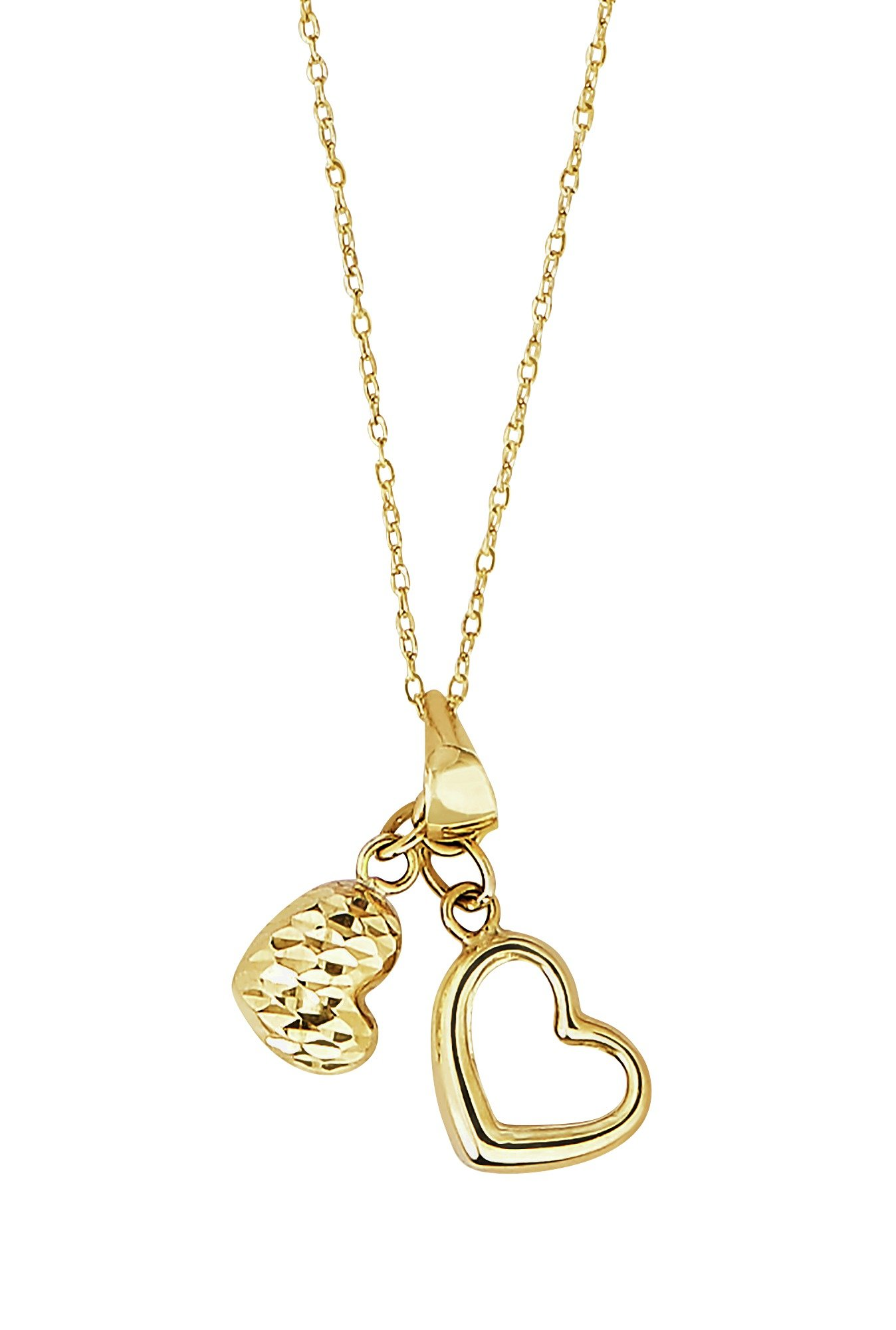 Revere 9ct Gold Heart Multi Charm Pendant 18 Inch Necklace