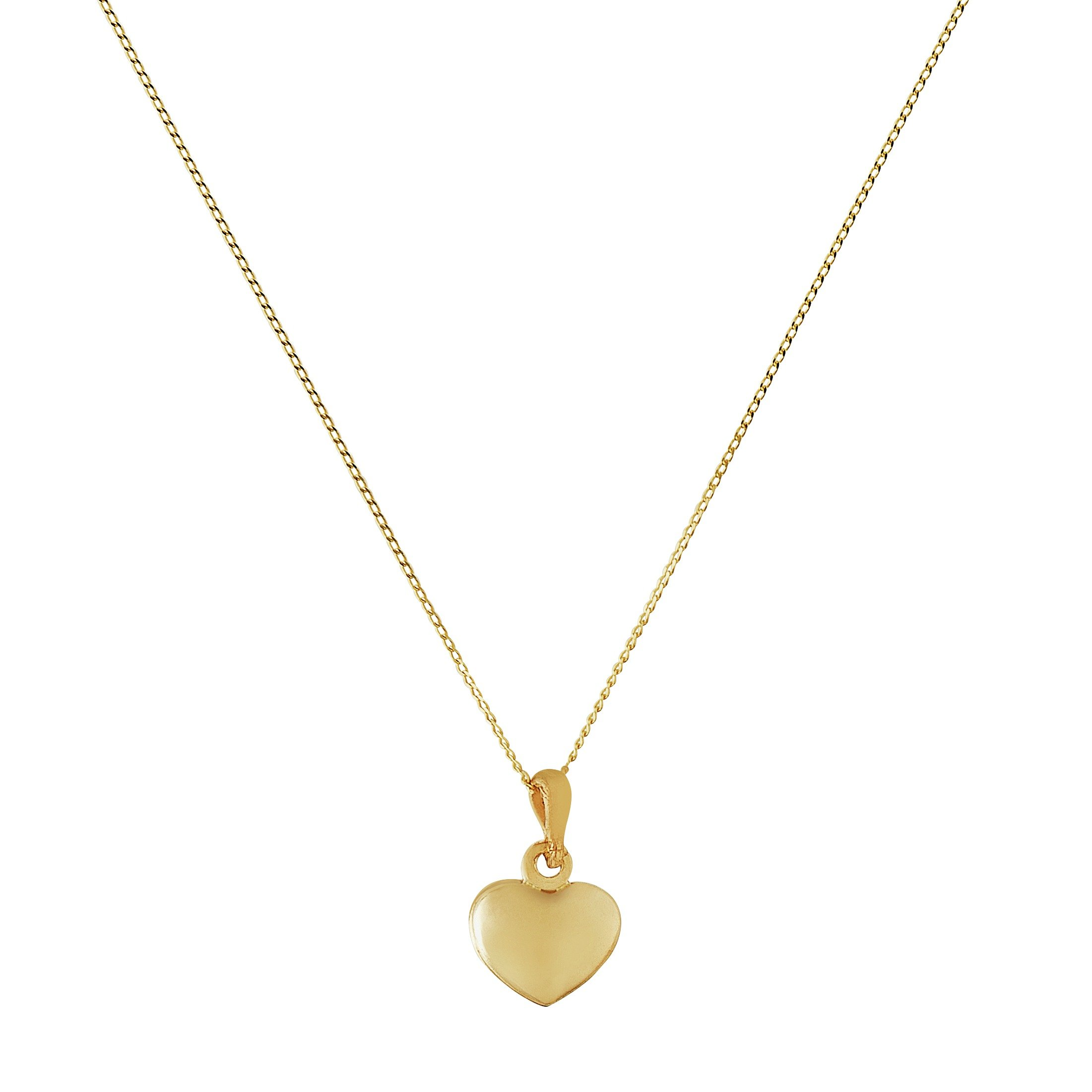 Revere 9ct Gold Heart Pendant 16 Inch Necklace