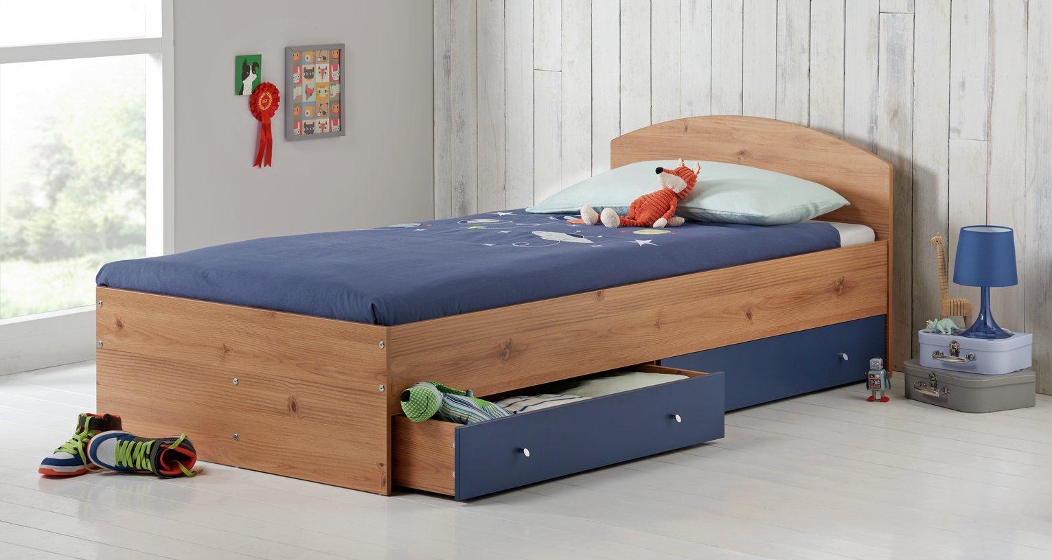 HOME Malibu Single Bed with Elliott Mattress - Pine & Blue.