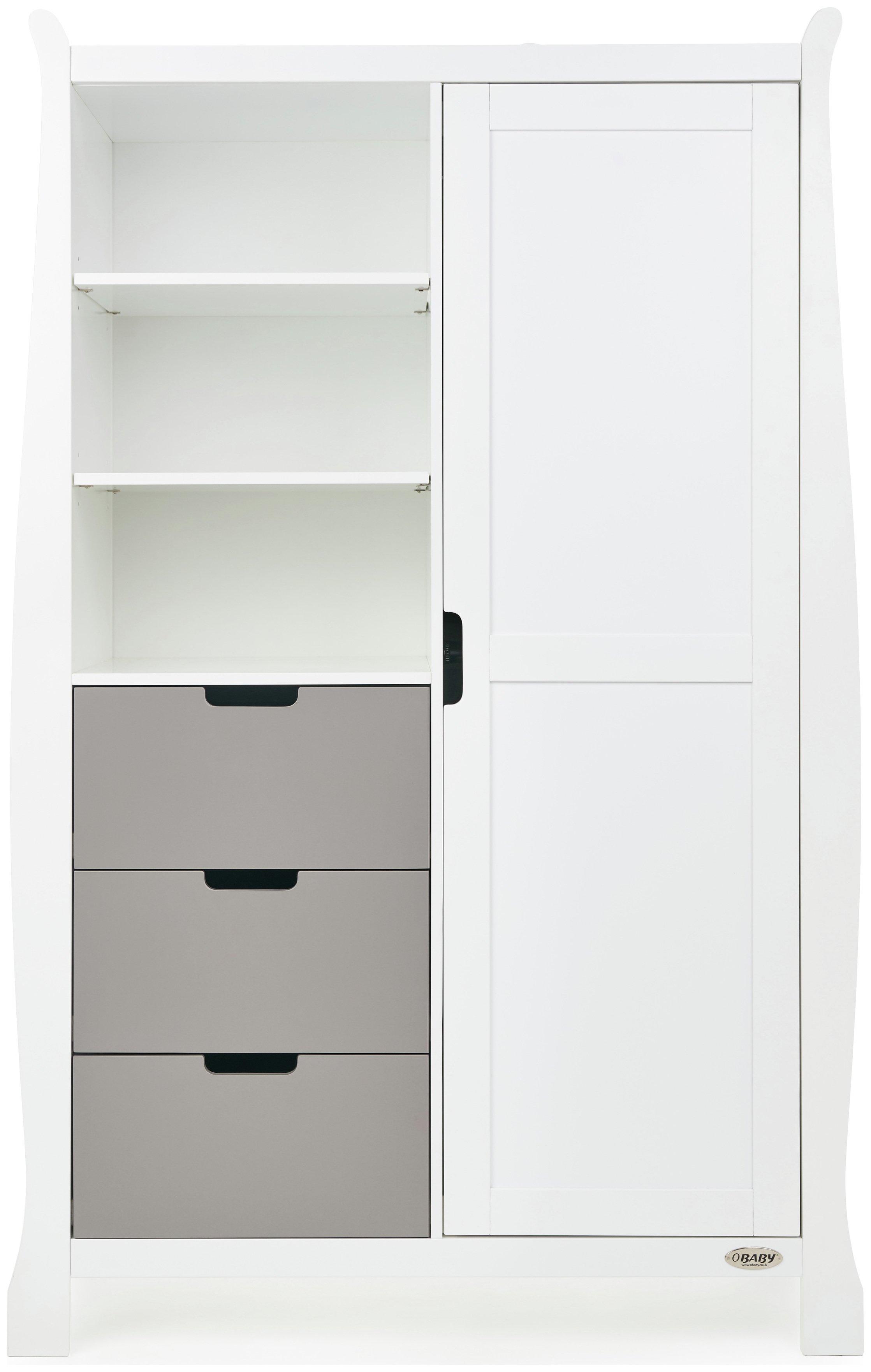 Obaby Stamford Sleigh Double Wardrobe - White & Taupe Grey