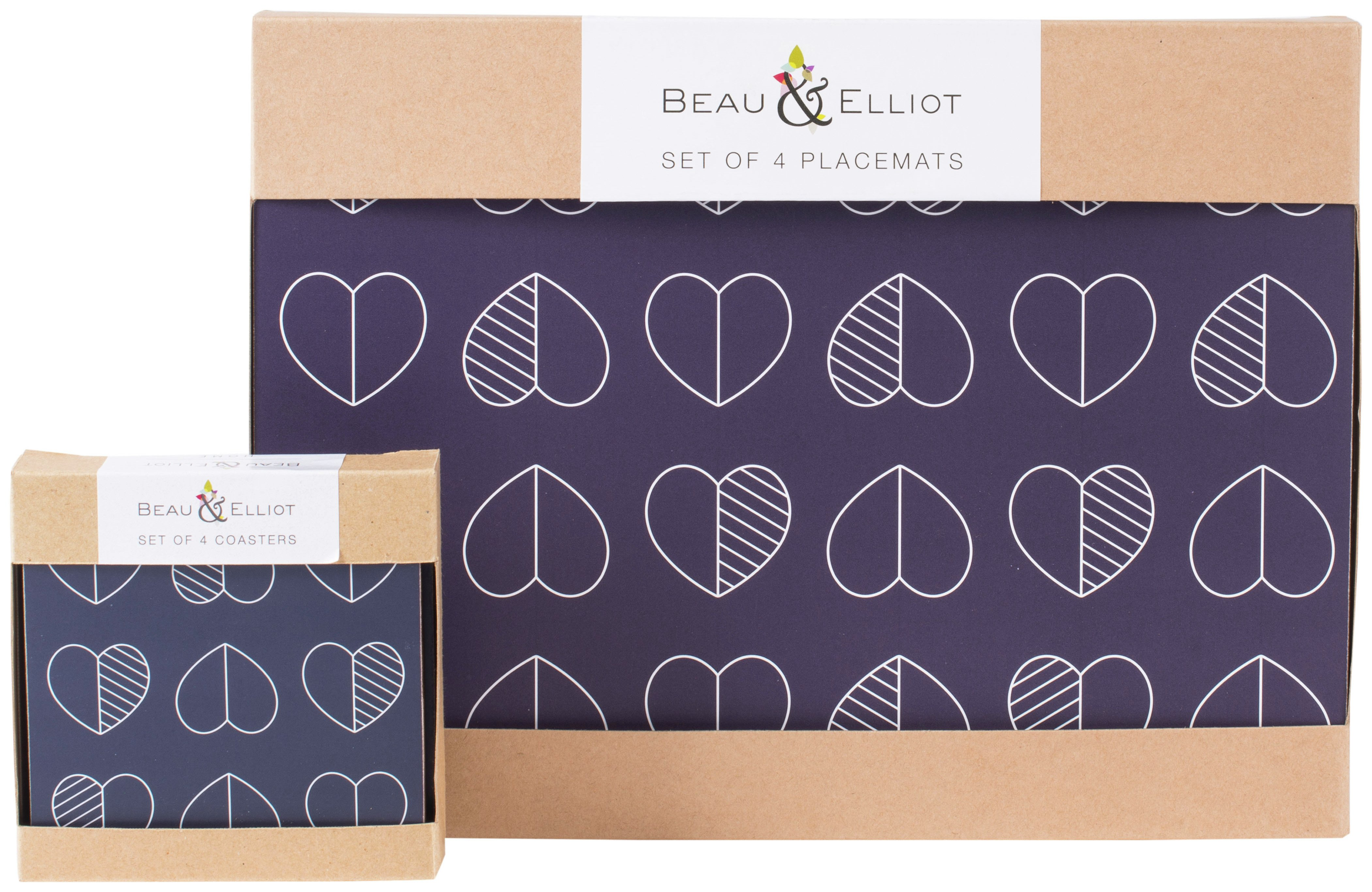 Image of Beau and Elliot Set of 4 Placemats and Coasters - Blue.