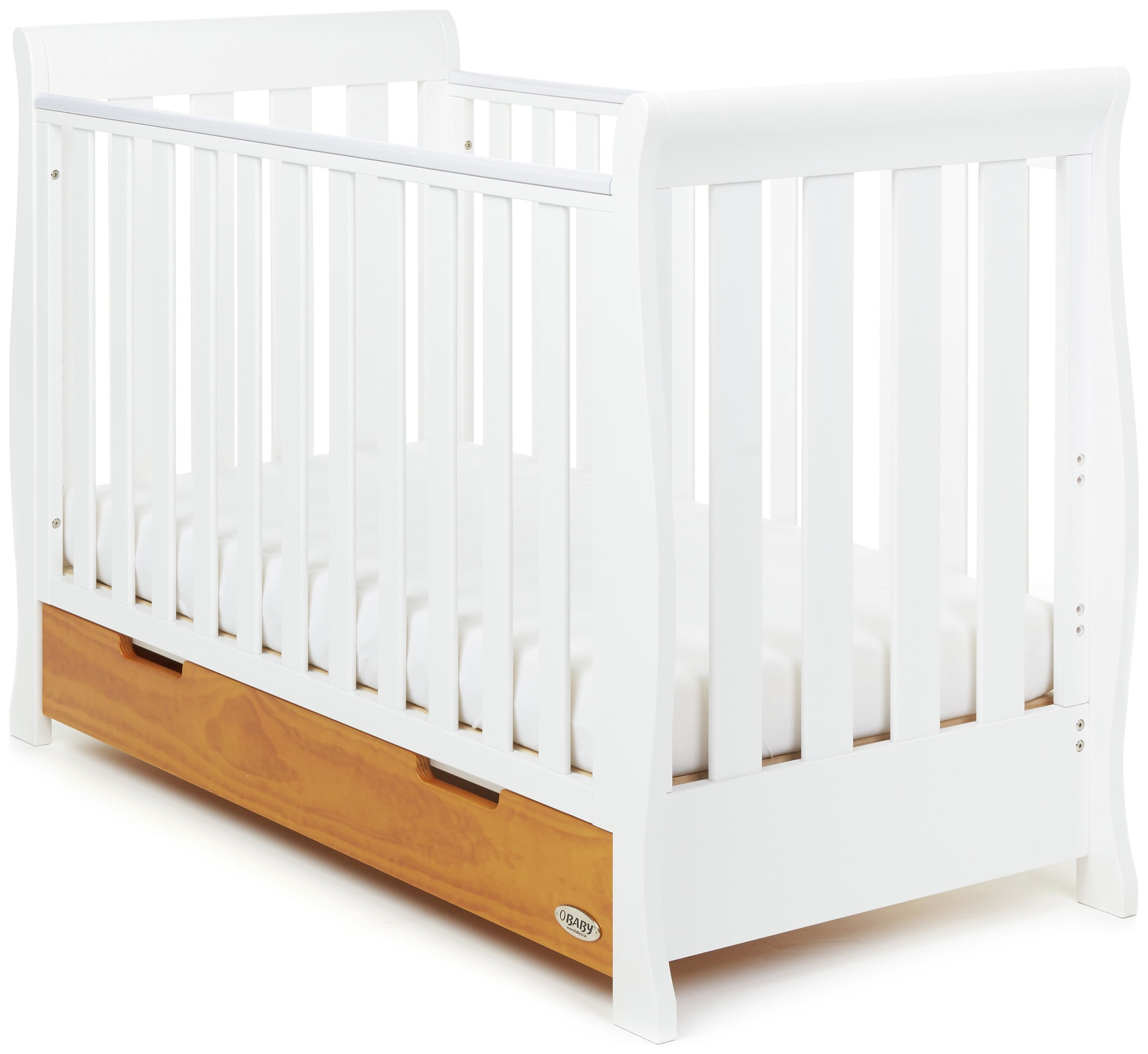 Image of Obaby Stamford Mini Sleigh Cot Bed - White & Country Pine
