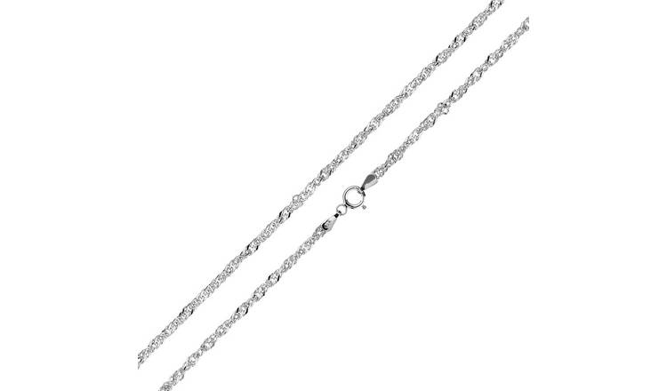 Revere 9ct White Gold Twisted Curb 18 Inch Necklace