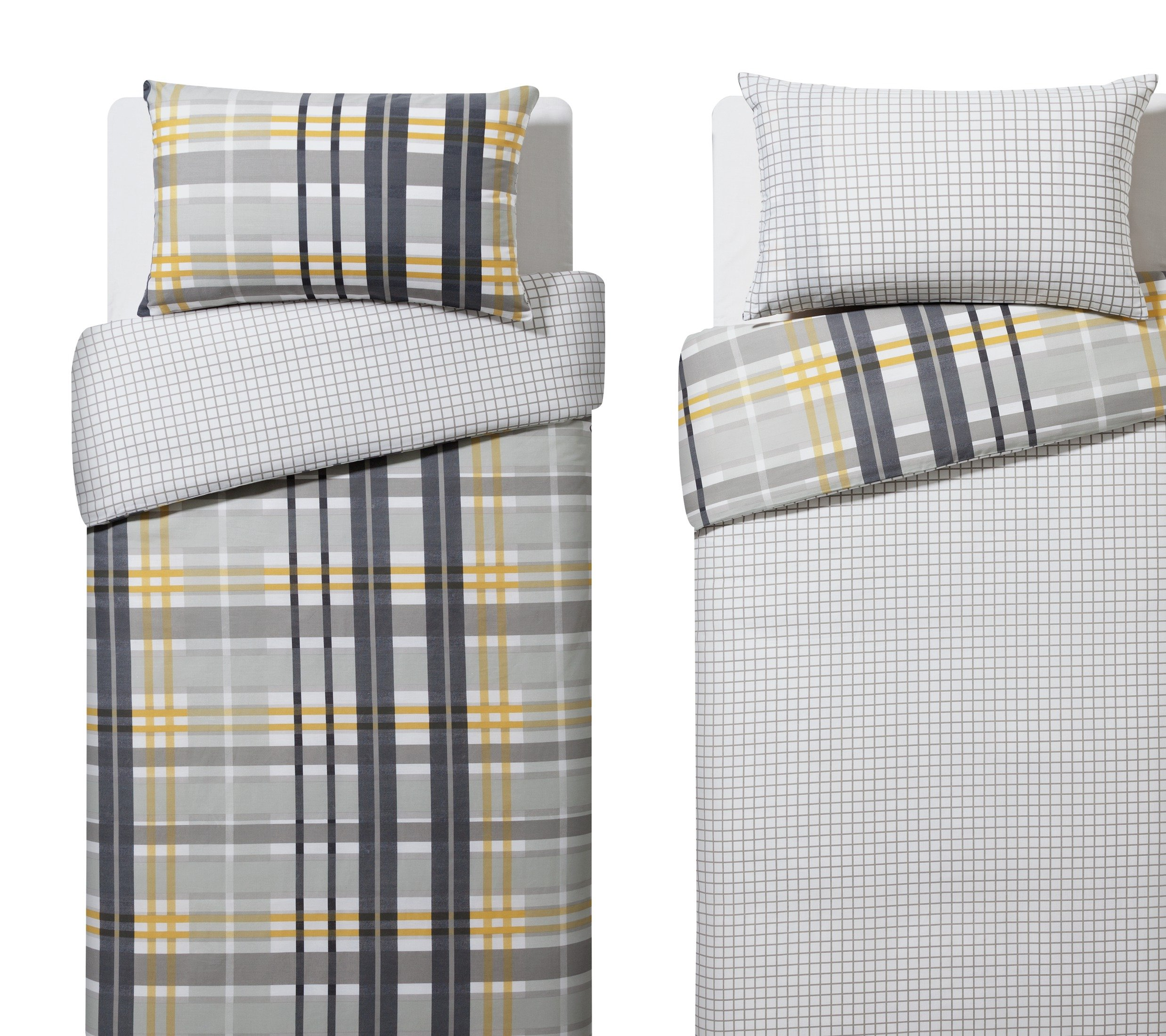 home grey check twin pack bedding set  single