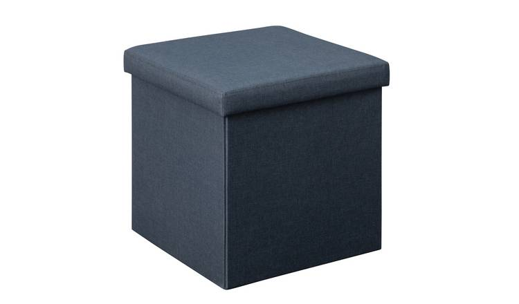 Argos Home Small Fabric Ottoman - Navy