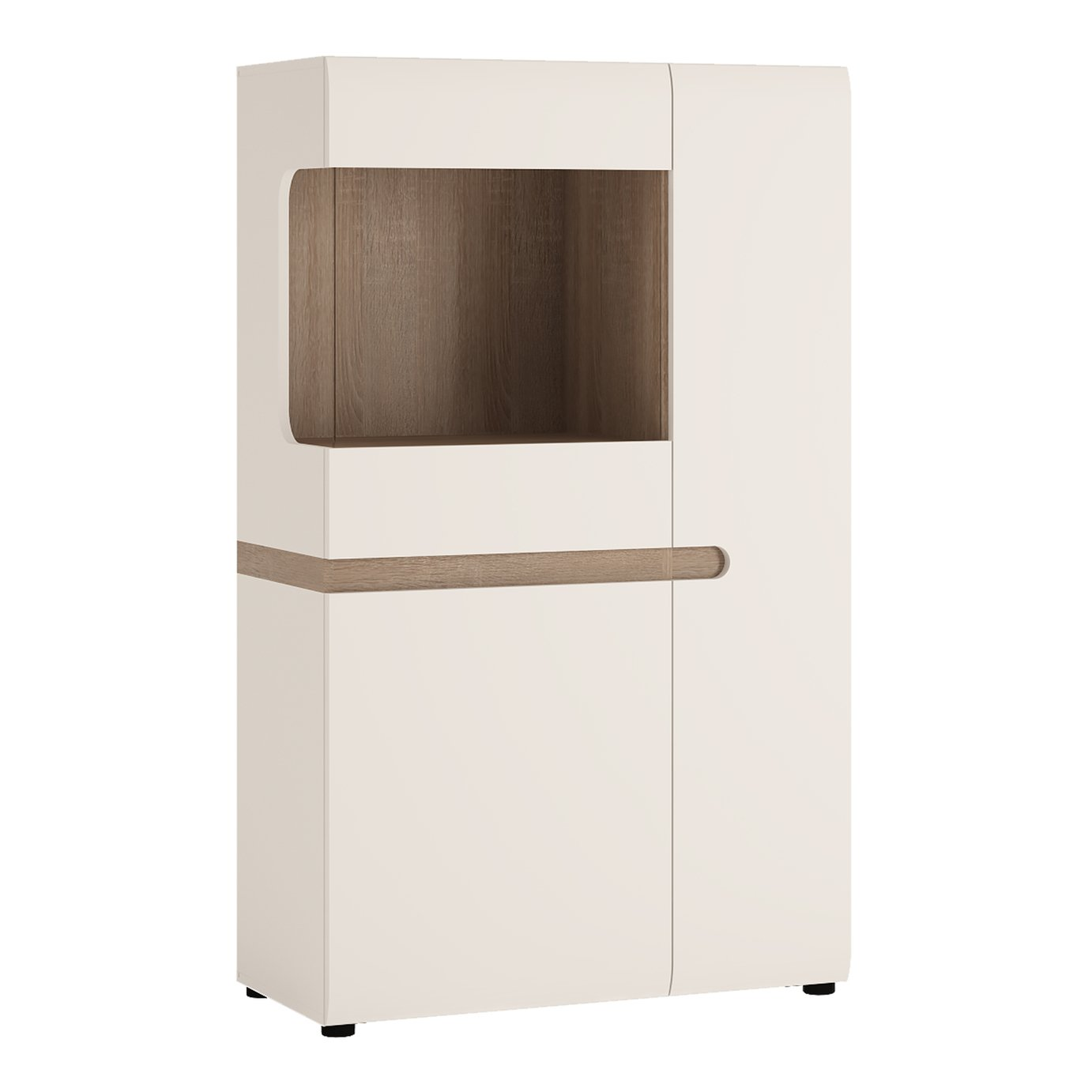 Exton 2 Door Low Display Cabinet - White Gloss