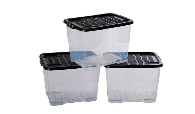 Buy Argos Home 24 Litre Curve Lidded Storage Box Set Of 3 Plastic Storage Boxes Argos