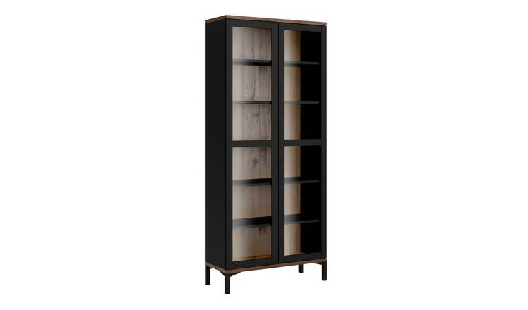 Greyson 2 Door Display Cabinet - Black & Walnut Effect