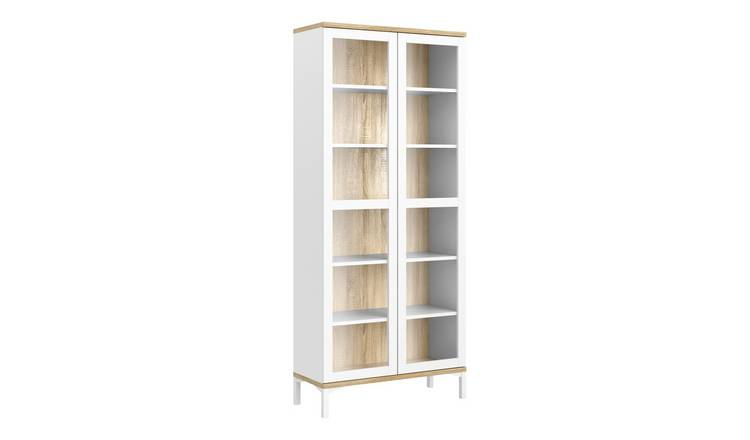 Greyson 2 Door Display Cabinet - White & Oak Effect