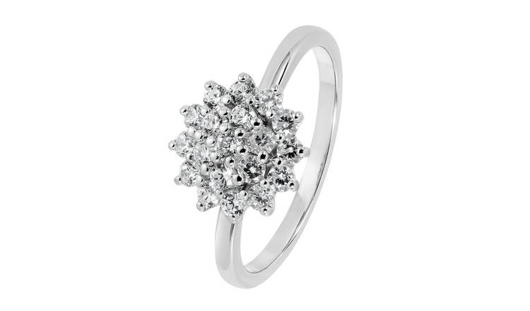 Revere Sterling Silver Cubic Zirconia Cluster Ring - Q