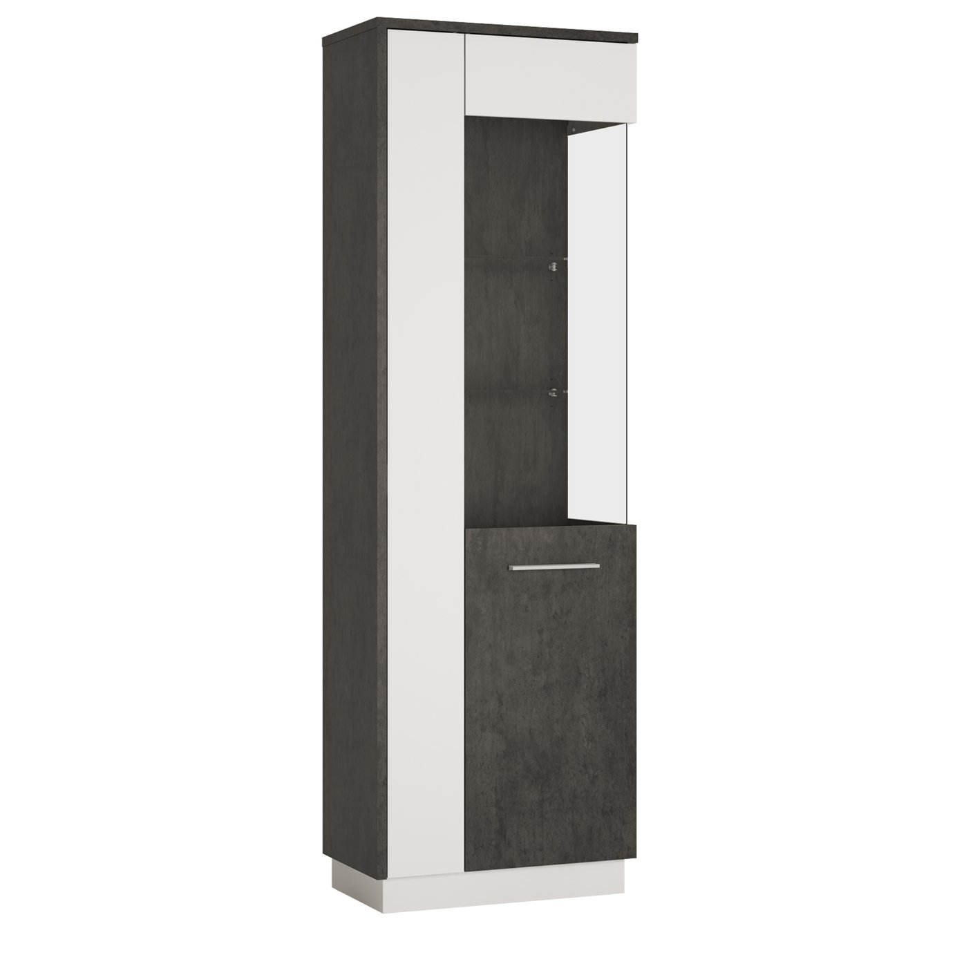 Solan 1 Door Right Hand Display Cabinet - Grey & White