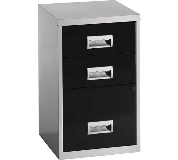 Buy Pierre Henry Drawer Combi Filing Cabinet SilverBlack At - 3 drawer black file cabinet