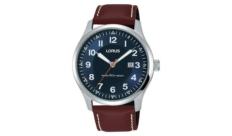 Lorus Men's Brown Leather Strap Date Box Watch