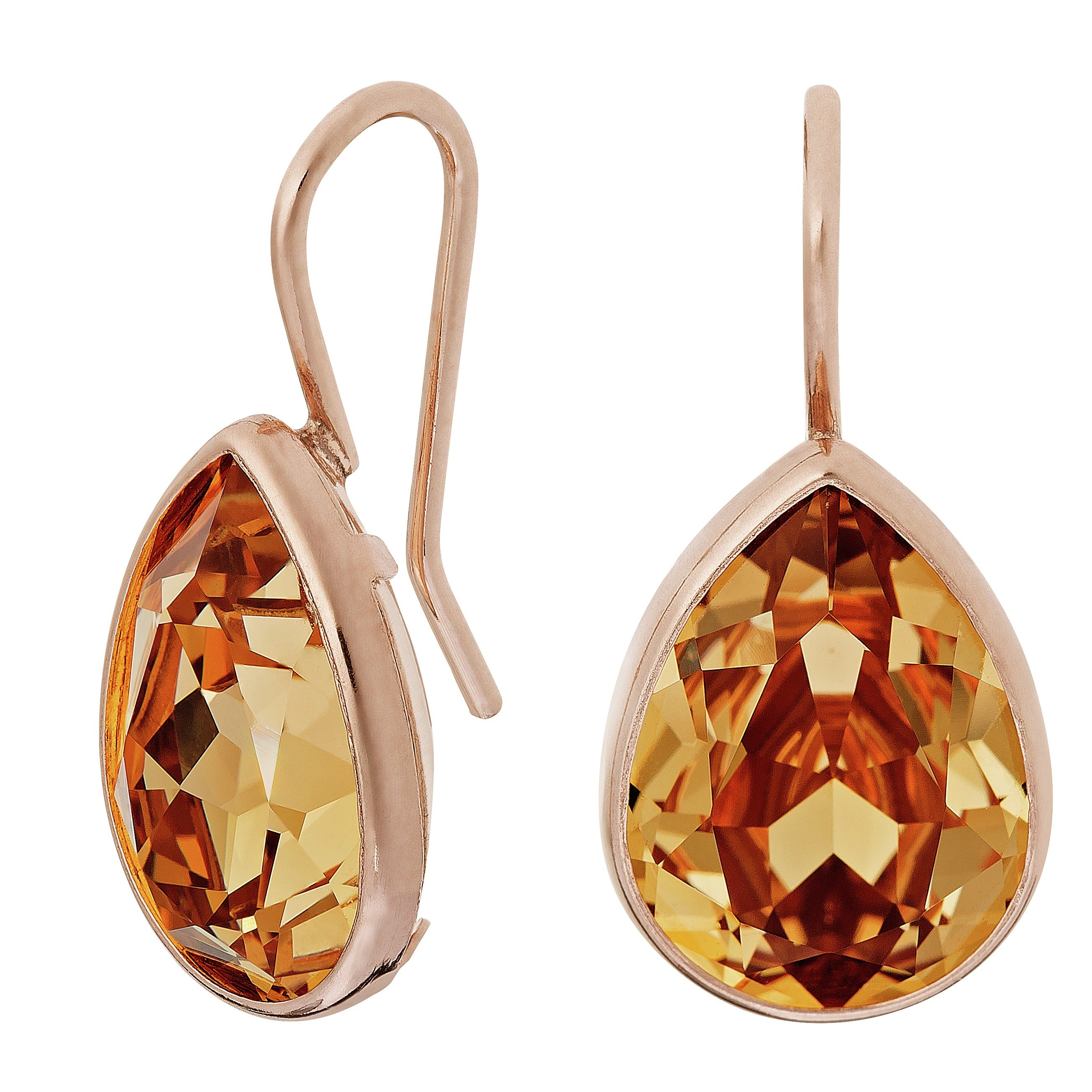 Davvero Rose Gold Plated Silver Swarovski Crystal Drop Shape Earrings
