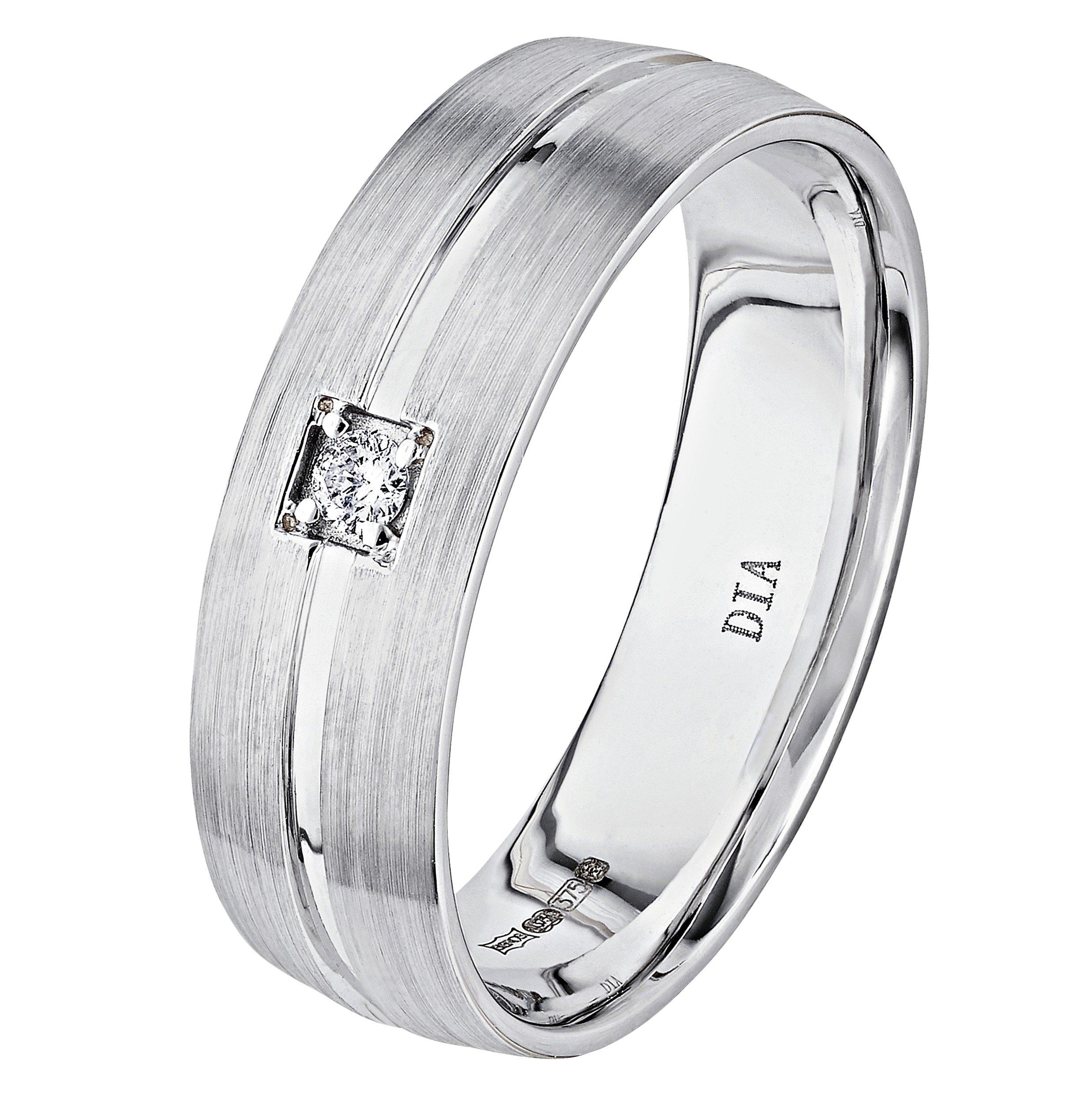 Revere 9ct White Gold 0.05ct Diamond Wedding Ring - 6mm
