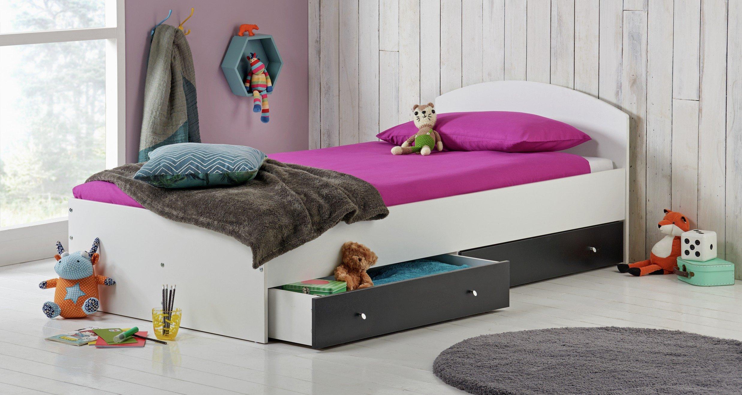 HOME Malibu Single Bed with Elliott Mattress - Black & White