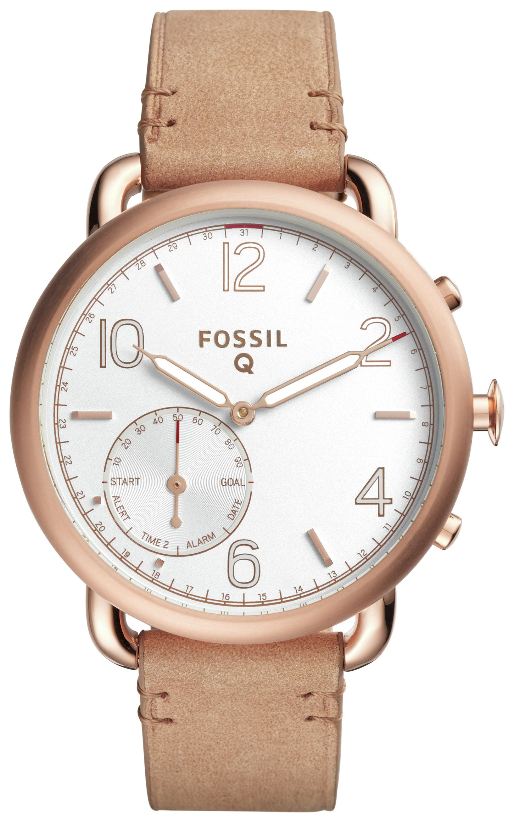 Image of Fossil Q Tailor Gazer Sand Leather Strap Hybrid Smart Watch