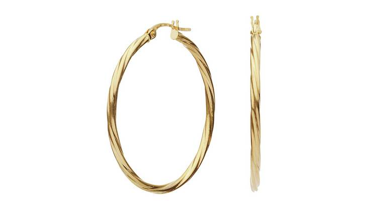 Revere 9ct Gold Twist Creole Hoop Earrings