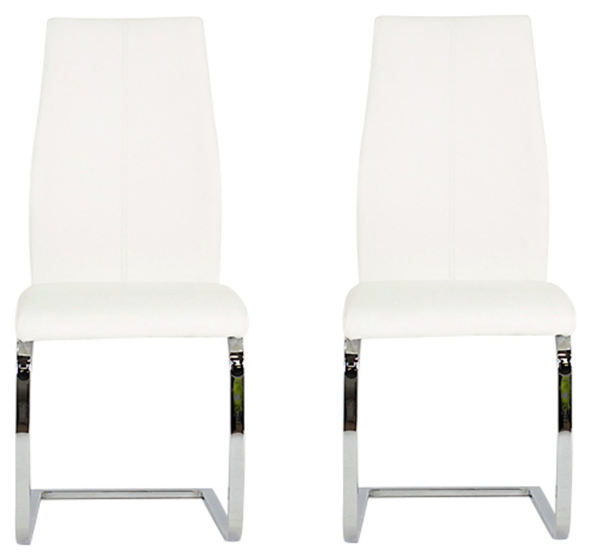 Image of Furnoko Elis Pair of Leather Effect Dining Chairs - White