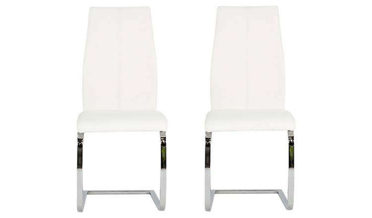 Stupendous Buy Furnoko Elis Pair Of Leather Effect Dining Chairs White Dining Chairs Argos Gamerscity Chair Design For Home Gamerscityorg