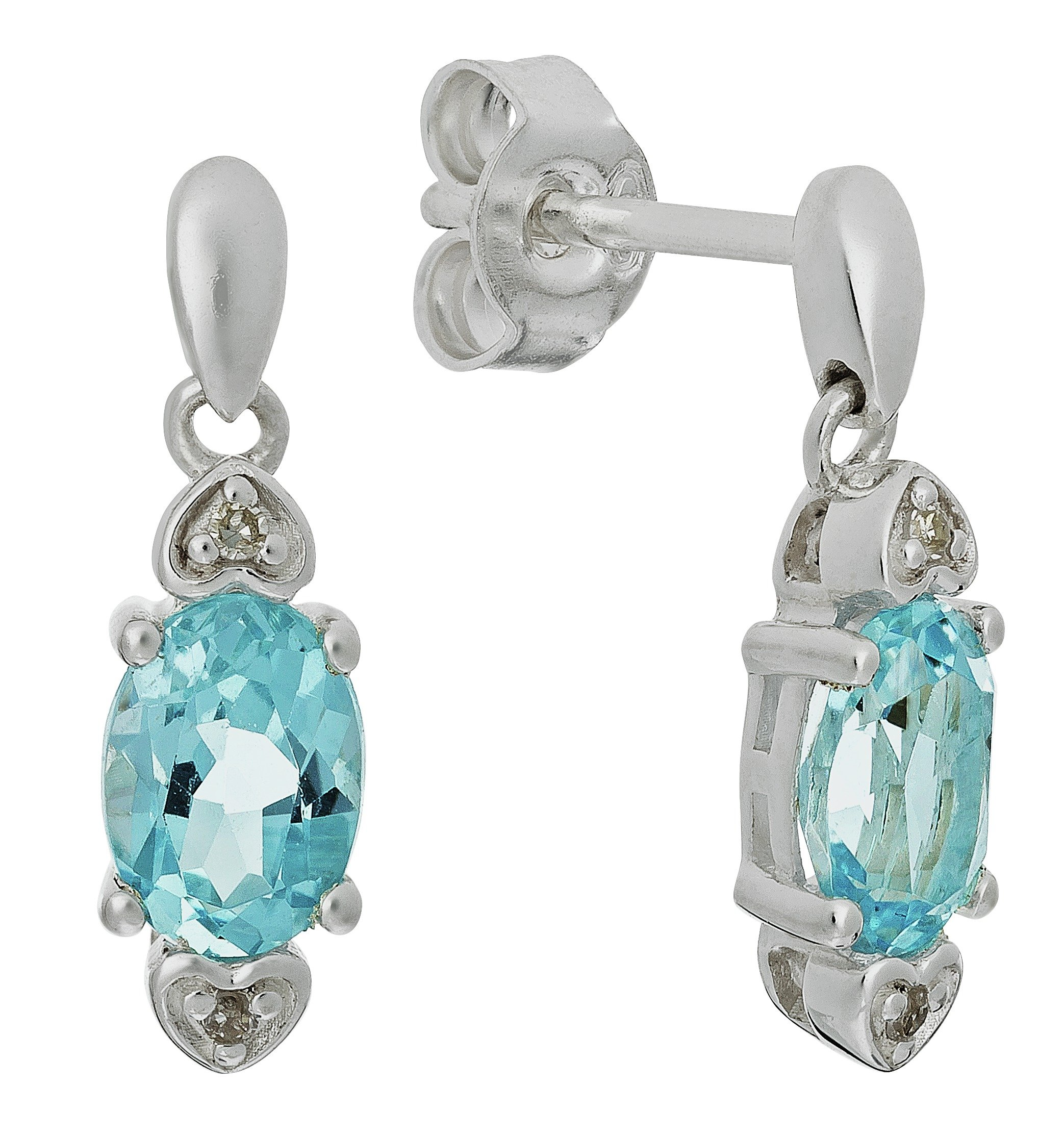 Revere Sterling Silver Topaz and Diamond Accent Earrings