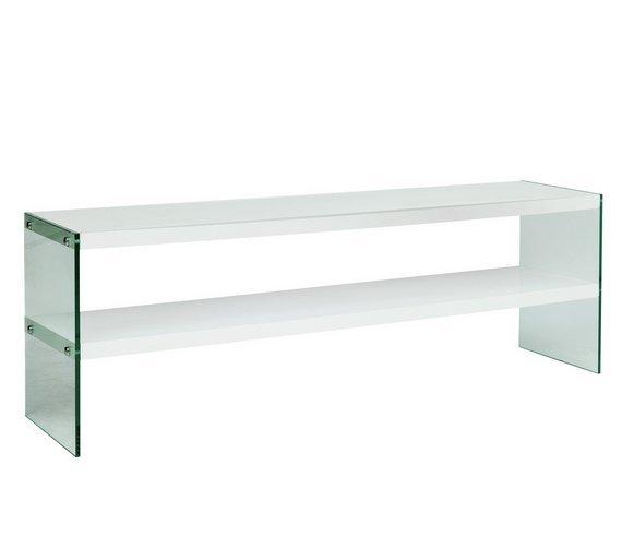 Argos Home Kaspa Large TV Unit - White Gloss & Glass