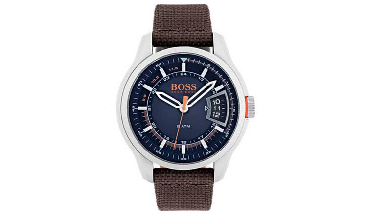 2610c919b7b Buy Hugo Boss Orange Hong Kong Men s Brown Leather Strap Watch ...