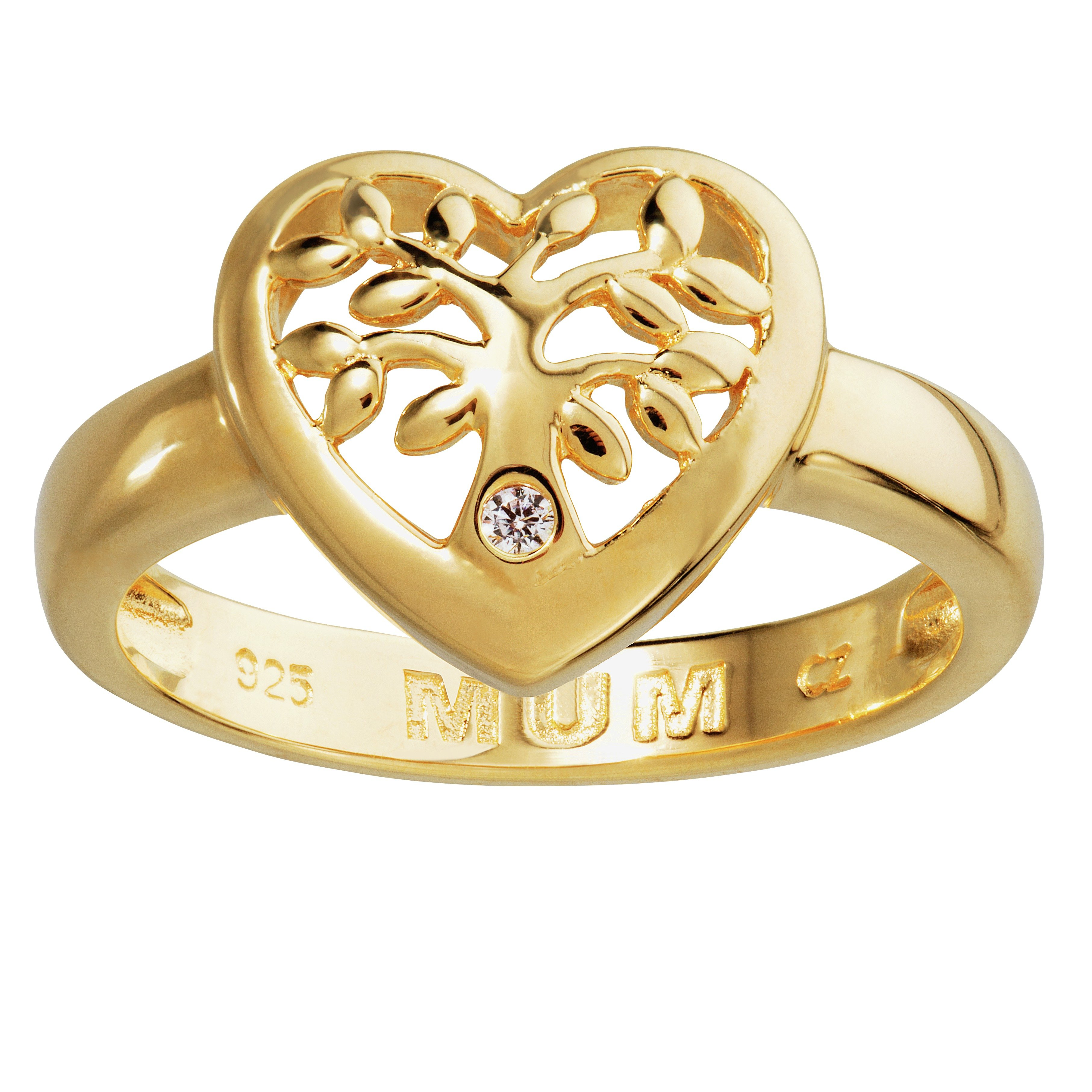 Image of Moon & BacK Gold Plated Silver CZ Mum Family Tree Heart Ring