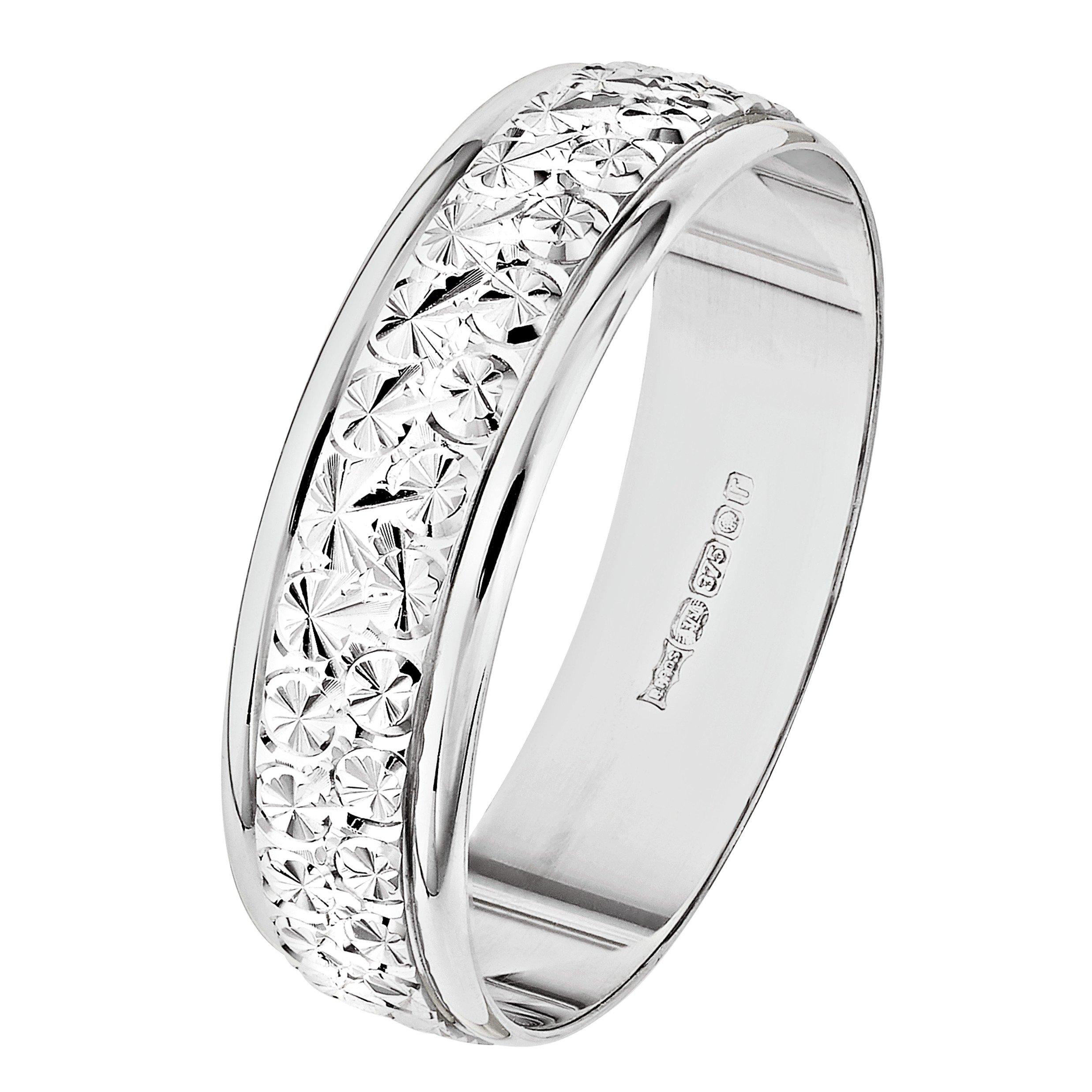 Buy Revere 9ct White Gold Diamond Cut Wedding Ring Ladies wedding