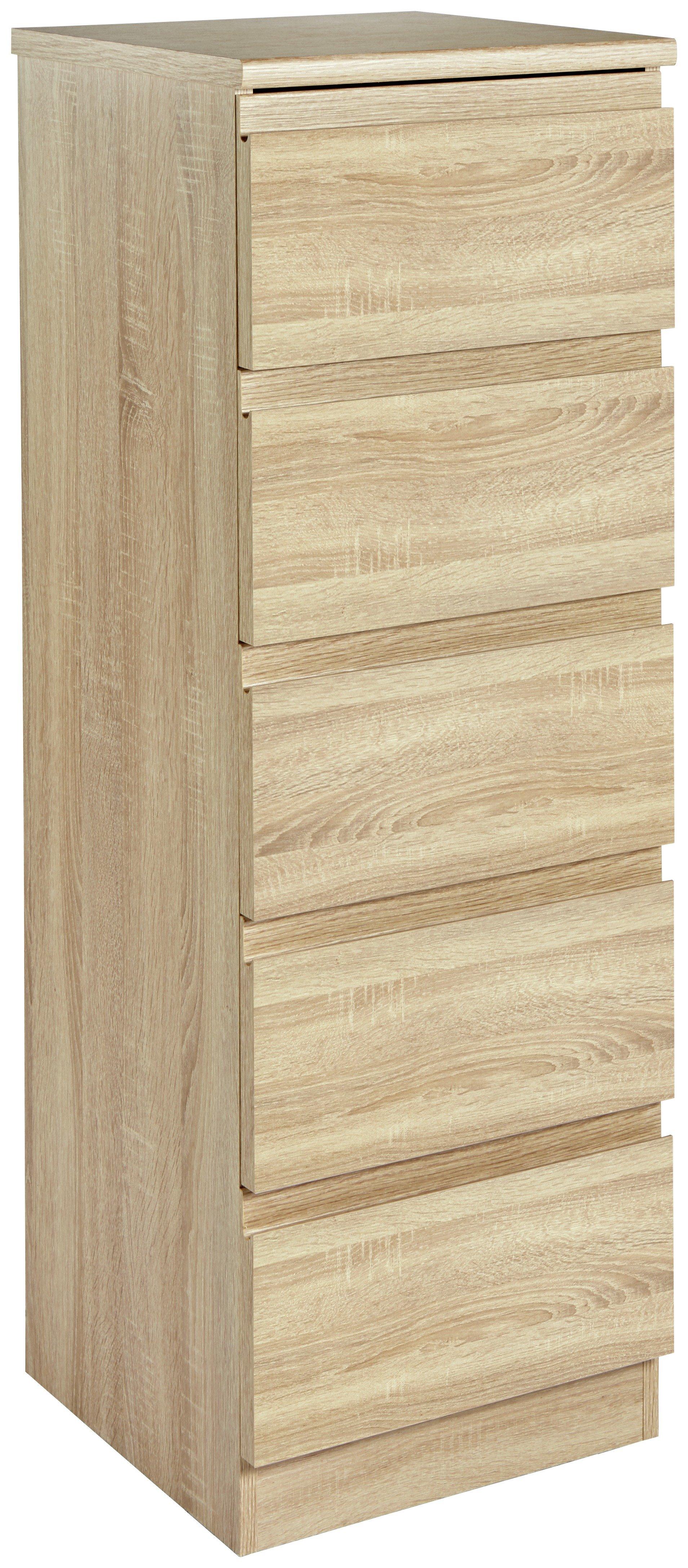Image of Avenue 5 Drawer Tallboy Chest - Natural Oak Effect