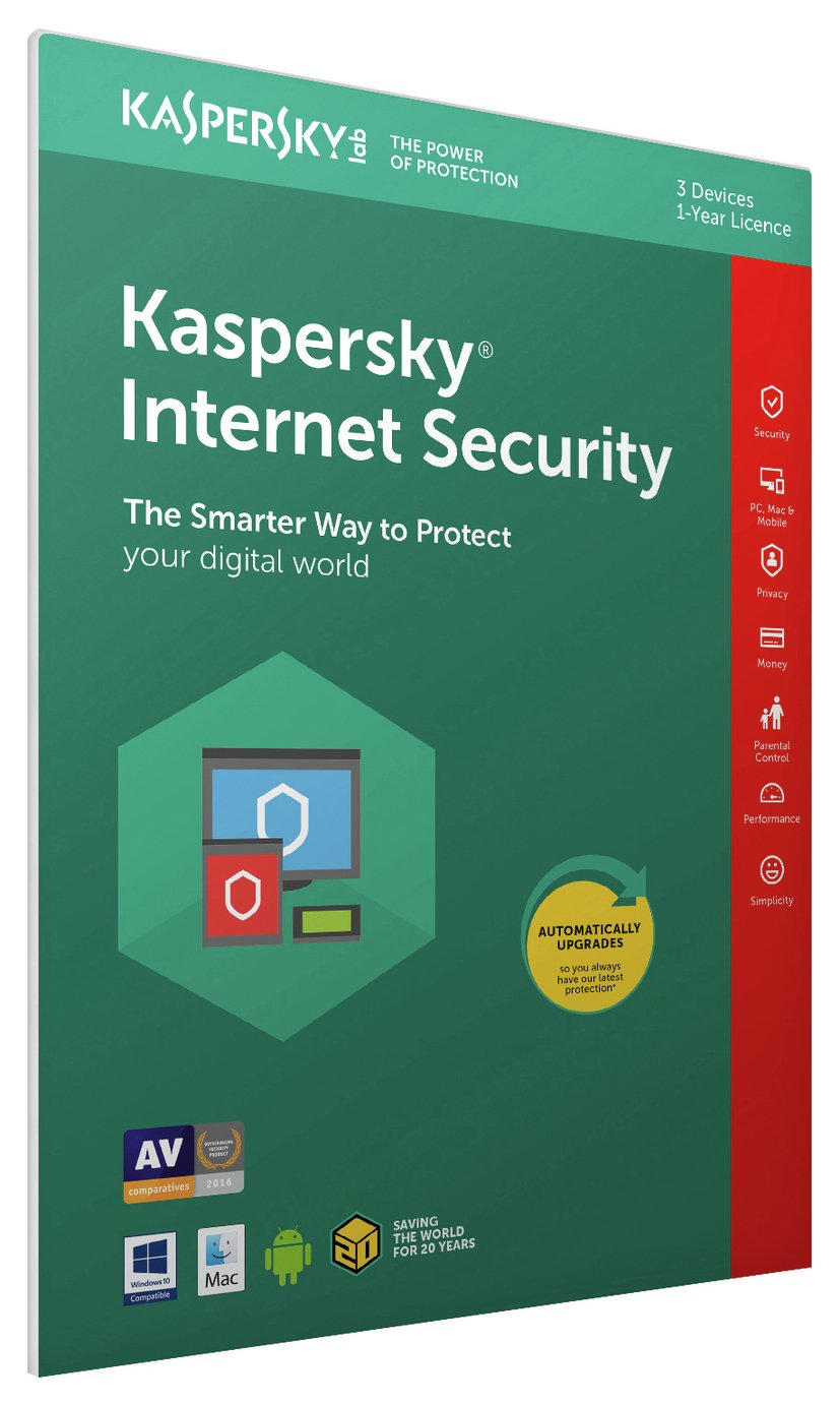 Kaspersky Internet Security 2017 - 3 Devices, 1 Year License