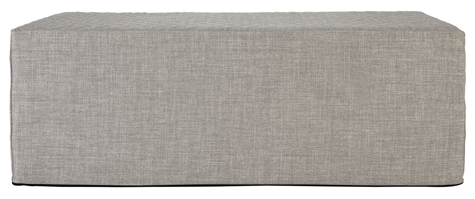 Argos Home Prim Fabric Double Ottoman Bed - Light Grey