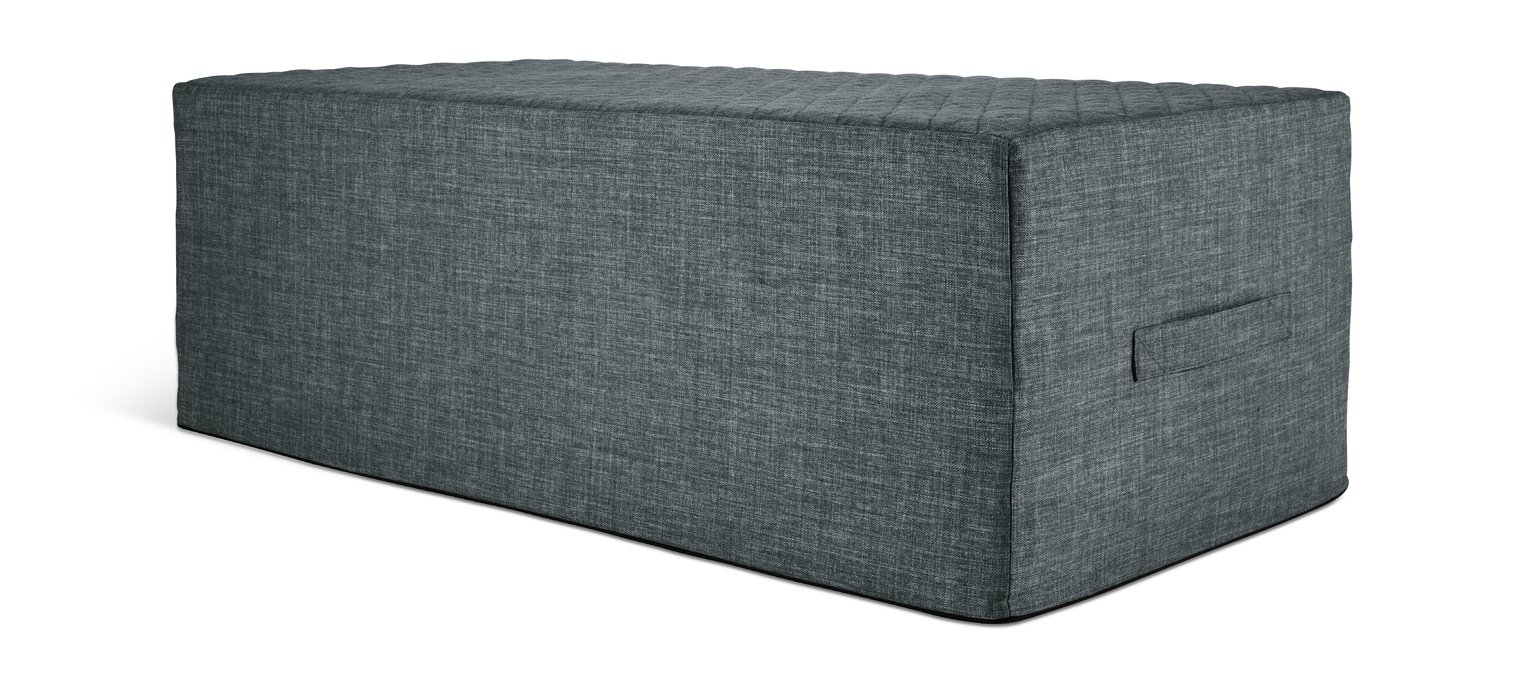 Hygena Prim Fabric Double Ottoman Bed - Charcoal