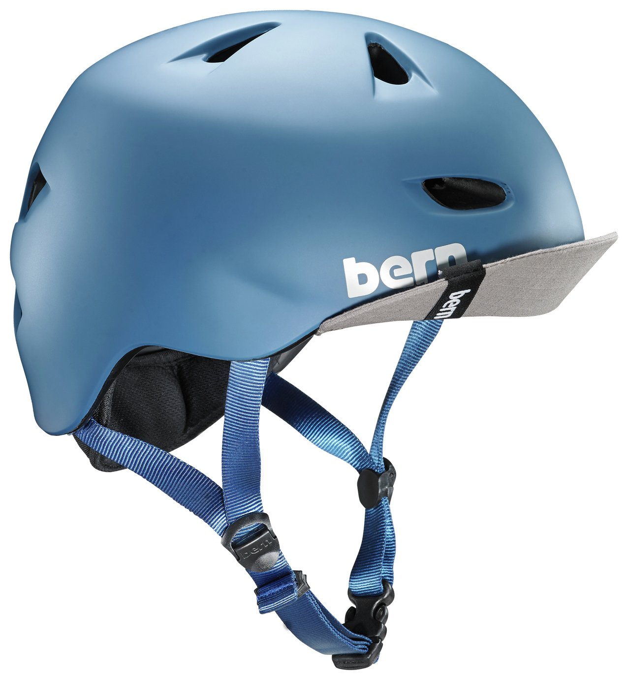 Image of Bern Brentwood Steel Helmet with Visor - Blue