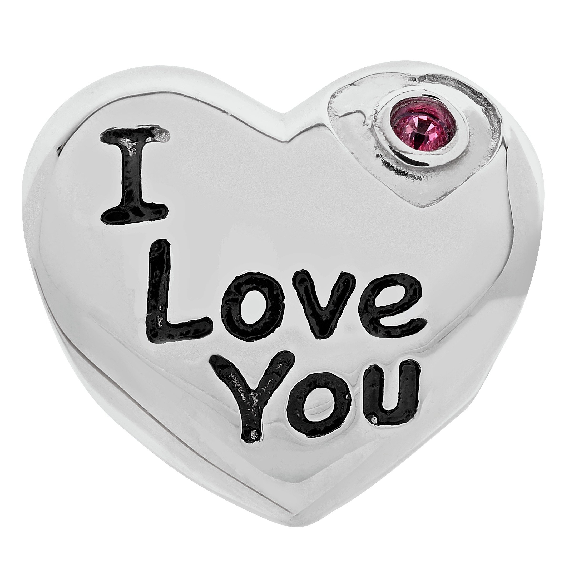 Moon & Back Sterling Silver 'I Love You' Cubic Zirconia Bead