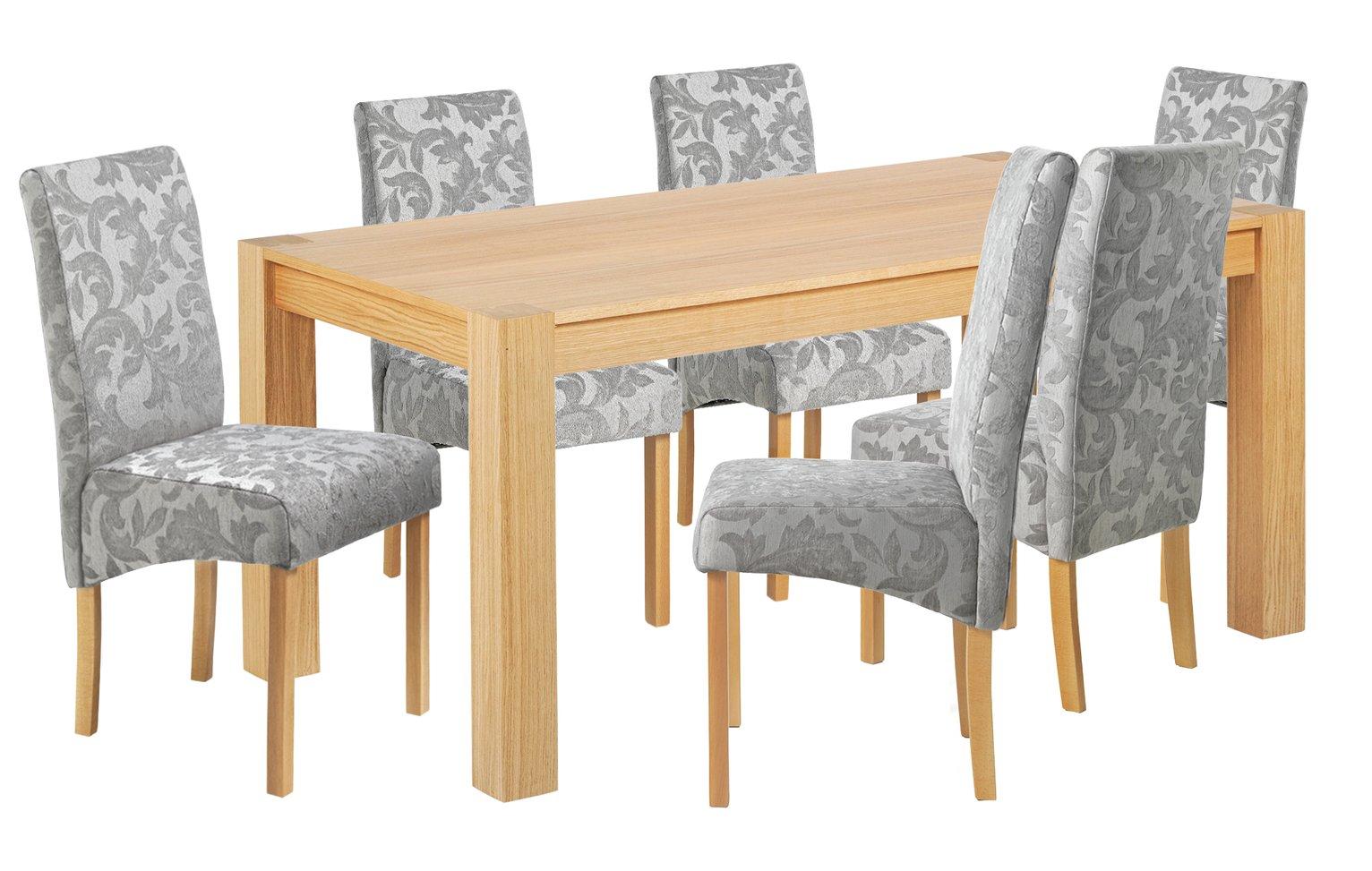 Heart of House Alston Oak Veneer Table &6 Chairs - Grey Dmsk